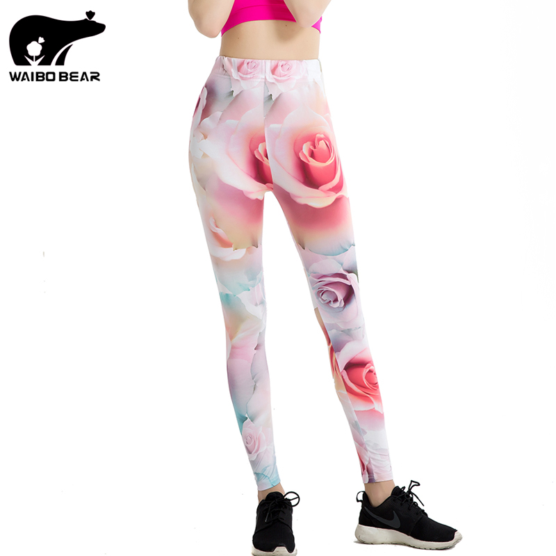 Elegant Women Autumn Beauty Pink Rose 3D Print Leggings Elastic Sportwear Trousers Straight Casual Skinny Leggins WAIBO BEAR