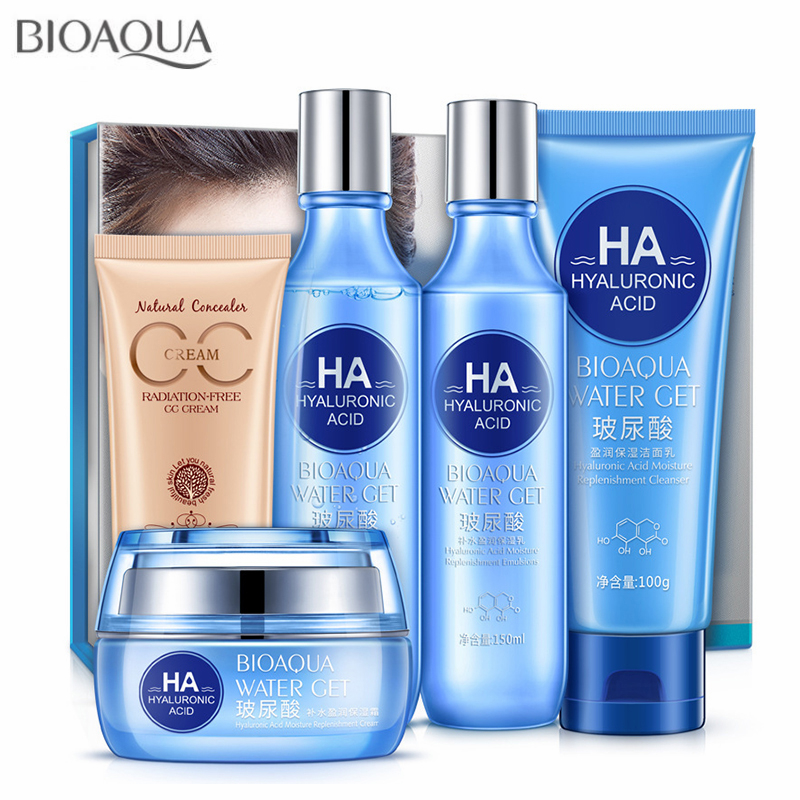 BIOAOUA Hyaluronic acid Hydrating Face Skin Care Set Anti Aging Facial Cleanser Firming Toner Emulsion Day Cream BB CC Cream Kit
