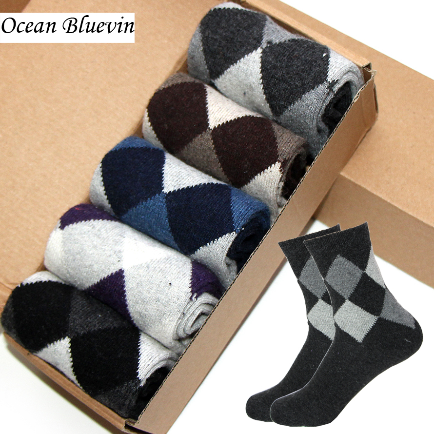 10 Pairs/ Lot Rabbit Wool Men Socks Autumn Winter Warm Thick Double Rhombus Prints Soft Anti-Bacterial Durable Casual Sock Meias