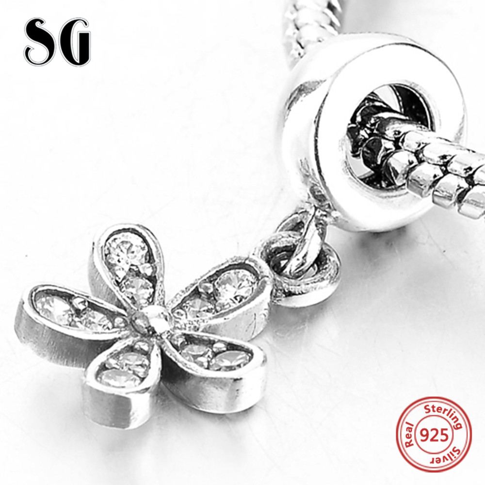 925 Sterling Silver Flower With Cubic Zirconia Pendant Fit Authentic Pandora Charms Bracelet Beads For Women Fashion DIY Jewelry